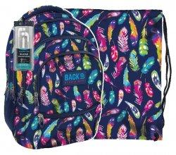 ZESTAW 2 el. Plecak szkolny młodzieżowy Back UP kolorowe piórka FEATHERS + słuchawki (PLB1C24)