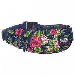 SASZETKA NERKA Back UP na pas torba różowe kwiaty na granatowym tle TROPICAL FLOWERS (TBB1A12)