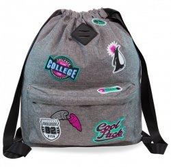 Plecak Sportowy Worek na sznurkach CoolPack URBAN szary w znaczki, GIRLS BADGES GREY (B73058)