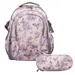 ZESTAW 2 el. Plecak szkolny młodzieżowy ST.RIGHT motyle vintage, VINTAGE BUTTERFLIES BP1 (22786SET2CZ)