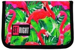 Piórnik St.Right bez wyposażenia w egzotyczne rośliny i flamingi, FLAMINGO PINK & GREEN dwuklapkowy PC03 (19427)