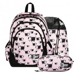 ZESTAW 3 el. Plecak szkolny młodzieżowy ST.RIGHT w pieski, DOGS BP6 (20690SET3CZ)