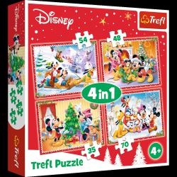 TREFL Puzzle 4 w 1 Świąteczny czas, Myszka Minnie i Mickey (34325)