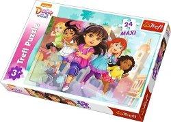 TREFL Puzzle MAXI 24 el. Dora i przyjaciele, Gotowe, do startu, start (14242)