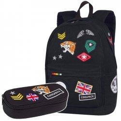 Zestaw Plecak CoolPack CROSS Piórnik BADGES BLACK 2 cz. (89944SET)
