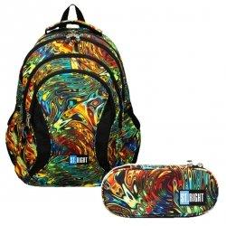 ZESTAW 2 el. Plecak szkolny młodzieżowy ST.RIGHT abstrakcja, ABSTRACTION BP2 (20539SET2CZ)