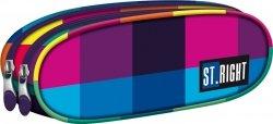 Piórnik dwukomorowy ST.RIGHT w kolorowe kwadraty, MAXI SQUARES PU02 (12220)
