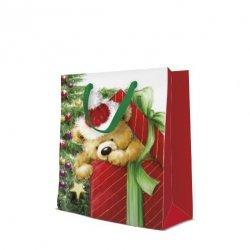 Torebka świąteczna TEDDY BEAR rozmiar M, Paw (AGB2000905)