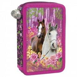 Piórnik z wyposażeniem, dwukomorowy I LOVE HORSES Konie (PWDKO15)