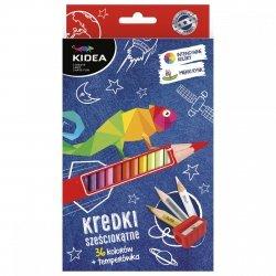 Kredki sześciokątne 36 kolorów + temperówka KIDEA (KS36KTKA)