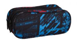Piórnik dwukomorowy saszetka COOLPACK CLEVER niebiesko - czerwone wzory, UNDERGROUND 836 (75671)