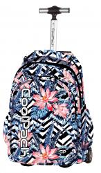 Plecak szkolny młodzieżowy na kółkach COOLPACK JUNIOR biało - czarne pasy w hawajskie kwiaty, ALOHA 1041 (79372)