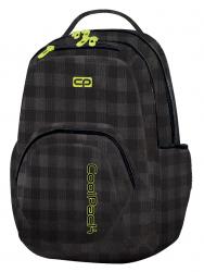 Plecak szkolny młodzieżowy COOLPACK SMASH w czarno szarą kratę, BLACK&YELLOW 1036 (79327)