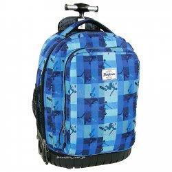 Plecak młodzieżowy na kółkach w niebiesko-granatową kratę (PLM19KB37)