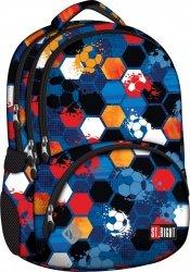 Plecak szkolny młodzieżowy ST.RIGHT garnatowy w piłki, FOOTBALL BP7 (16839)