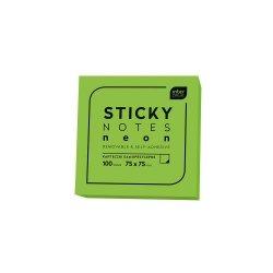 Karteczki samoprzylepne STICKY NOTES NEON notes kostka ZIELONE (66798)