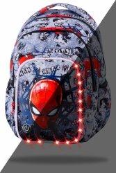 ZESTAW 2 el. Plecak CoolPack SPARK LED Spiderman na szarym tle, SPIDERMAN BLACK (B45303SET2CZ)