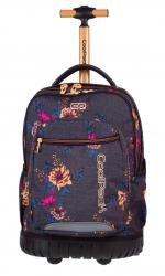 Plecak szkolny młodzieżowy na kółkach COOLPACK SWIFT szary w kolorowe kwiaty GREY DENIM FLOWERS 1070 (80132)