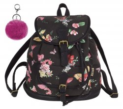 Plecak CoolPack miejski FIESTA kwiaty i motyle na czarnym tle, TWILIGHT z pomponem (84475CP)