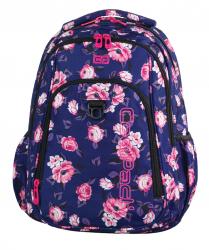 Plecak CoolPack STRIKE granatowy w pastelowe róże, ROSE GARDEN + pompon (74988)