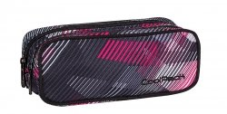 Piórnik CoolPack CLEVER dwukomorowy saszetka w szaro - różowe paski PINK MOTION 380 (63197)