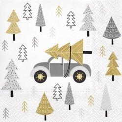 Serwetki dekoracyjne Christmas Car ŚWIĄTECZNY SAMOCHÓD 33x33 cm (SDL014108)