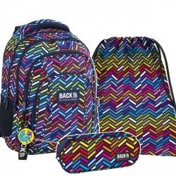 ZESTAW 3 el. Plecak szkolny młodzieżowy BackUP KOLUMNY 3D (PLB2A10SET3CZ)