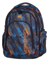 Plecak szkolny młodzieżowy COOLPACK MAXI w niebiesko - pomarańczowe wzory, TIRE TRACKS 749 (73349)