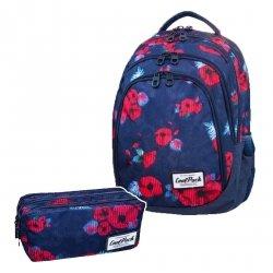 ZESTAW 2 el. Plecak CoolPack DRAFTER w czerwone maki, RED POPPY (B05025SET2CZ)
