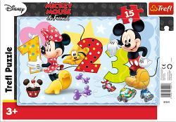 TREFL Puzzle Ramkowe 15 el. Myszka Mickey i Minnie, Policzmy razem (31241)