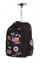 Plecak szkolny młodzieżowy na kółkach COOLPACK JUNIOR czarny w znaczki, BADGES BLACK