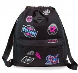 Plecak Sportowy Worek na sznurkach CoolPack URBAN czarny w znaczki, GIRLS BADGES BLACK (B73056)