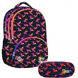 ZESTAW 2 el. Plecak szkolny młodzieżowy ST.RIGHT w tęczowe ptaki, RAINBOW BIRDS BP7 (22496SET2CZ)