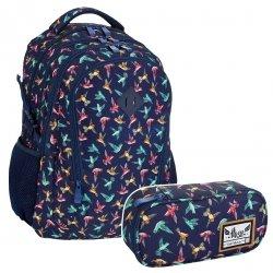 ZESTAW 2 el. Plecak HASH w kolorowe ptaszki, KOLIBER HS-45 (502019041SET2CZ)