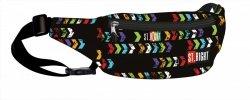 Saszetka na pas, nerka ST.RIGHT czarna w kolorowe strzałki, ST.ARROWS WB1 (18222)