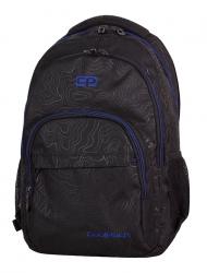 Plecak CoolPack BASIC czarny z niebieskimi dodatkami, TOPOGRAPHY BLUE 985 (71475)