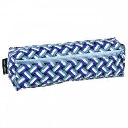 Piórnik dwukomorowy w niebieski prostokąty (PA19)