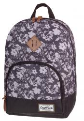 Plecak szkolny, miejski młodzieżowy COOLPACK CLASSIC czarno biały w kwiaty BLACK&WHITE FLOWERS 1016 (72090)