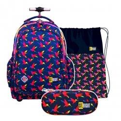 ZESTAW 3 el. Plecak szkolny młodzieżowy na kółkach ST.RIGHT w tęczowe ptaki, RAINBOW BIRDS TB1 (22489SET3CZ)