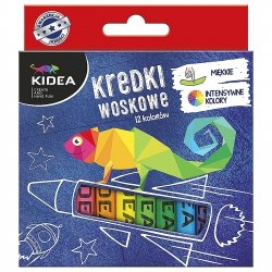 Kredki woskowe 12 kolorów KIDEA (KW12KA)