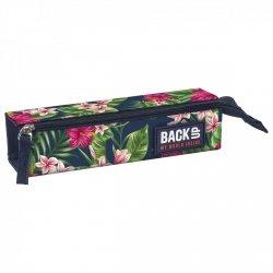 Piórnik saszetka Back UP różowe kwiaty na granatowym tle TROPICAL FLOWERS (PB1C12)