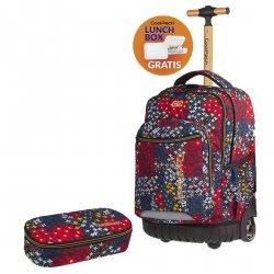 ZESTAW 2 el. Plecak CoolPack SWIFT  na kółkach kolorowe kwiatki na granatowym tle, SUMMER MEADOW + gratis (85769CPSET2CZ)