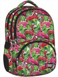 Plecak szkolny młodzieżowy ST.RIGHT w egzotyczne rośliny i flamingi, FLAMINGO PINK & GREEN BP7 (18604)