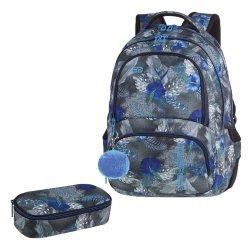 ZESTAW 2 el. Plecak CoolPack SPINER niebieskie kwiaty na grafitowym tle, BLUE HIBISCUS z pomponem (86841CPSET2CZ)