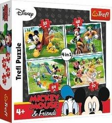 TREFL Puzzle 4 w 1 Zabawy w parku Myszka Minnie i Mickey (34261)