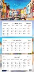 Kalendarz ścienny trójdzielny KOLOROWE KAMIENICZKI 2020 (72805)