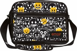 Torba szkolna na ramię, na format A4 młodzieżowa czarno biała EMOJI BLACK Emotikony SB2 (42564)