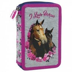 Piórnik z wyposażeniem dwukomorowy I Love Horses KONIE (PWDKO13)