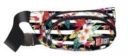Saszetka na pas torba nerka, biała w pasy i kwiaty, TROPICAL STRIPES WB2 (18437)