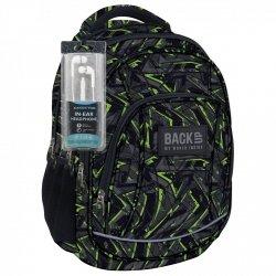 Plecak szkolny młodzieżowy Back UP zielone wzory GREEN SCRATCH + słuchawki (PLB1A31)